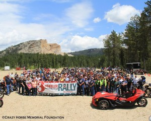Group picture for the Deadwood 3 Wheeler Rally participants at Crazy Horse Monument (c) Crazy Horse Memorial Foundation